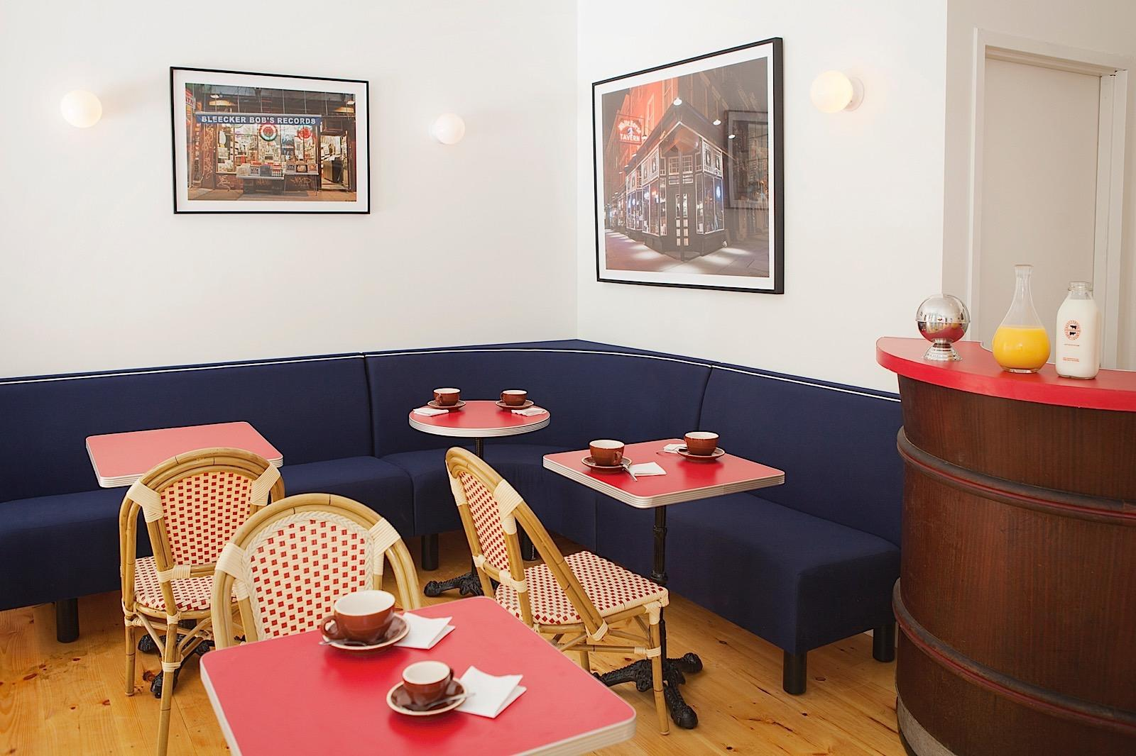 French Cafe Interior with seating and coffee