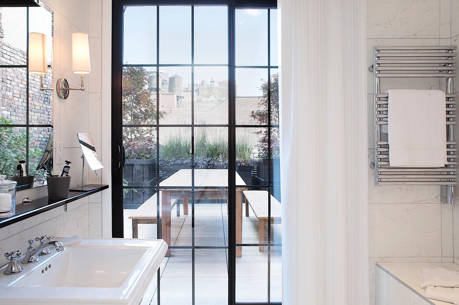Penthouse Bathroom Window View of Terrace