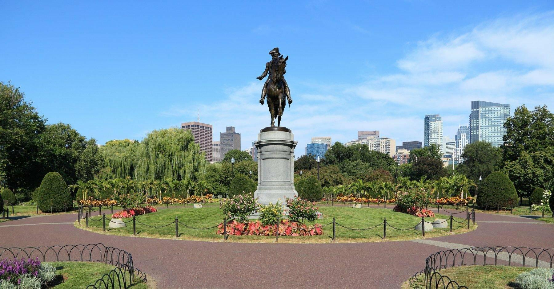 park with statue of George Washington on horse