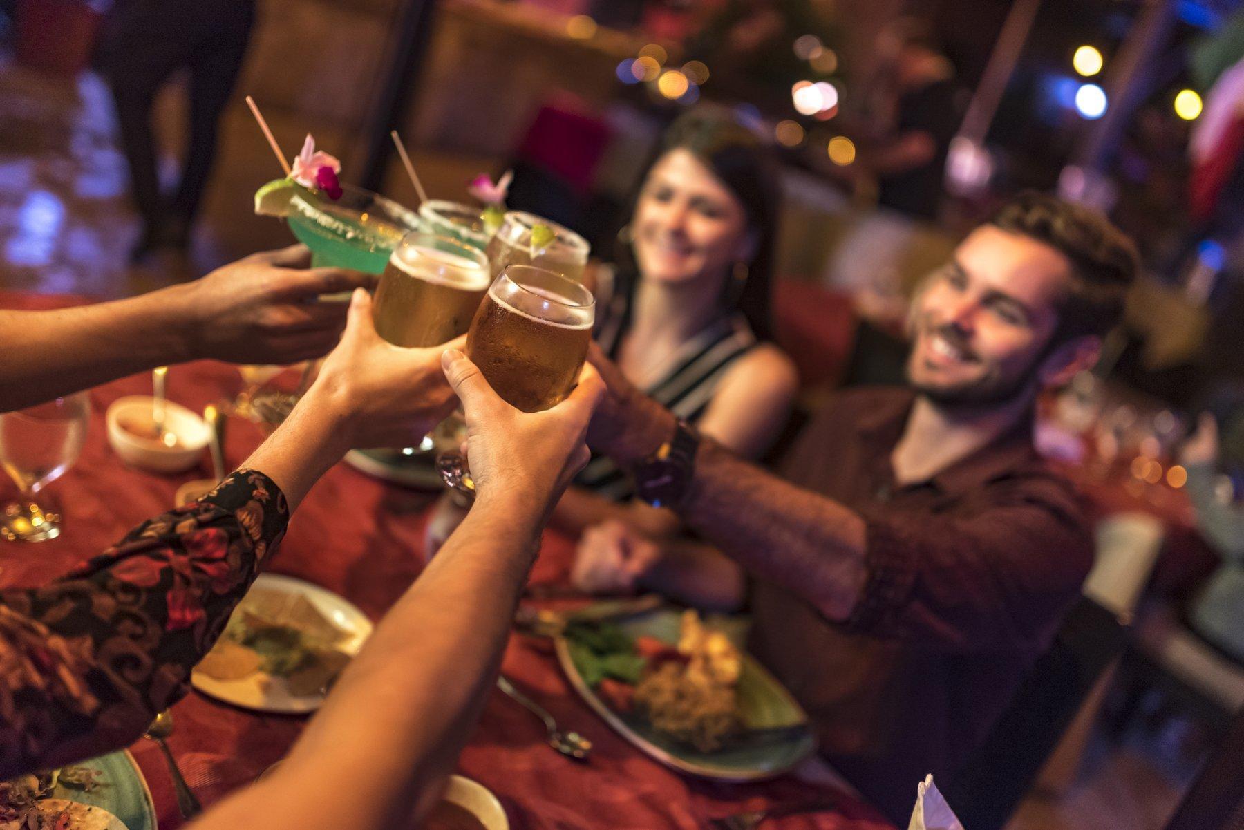 Group having driks at Restaurant