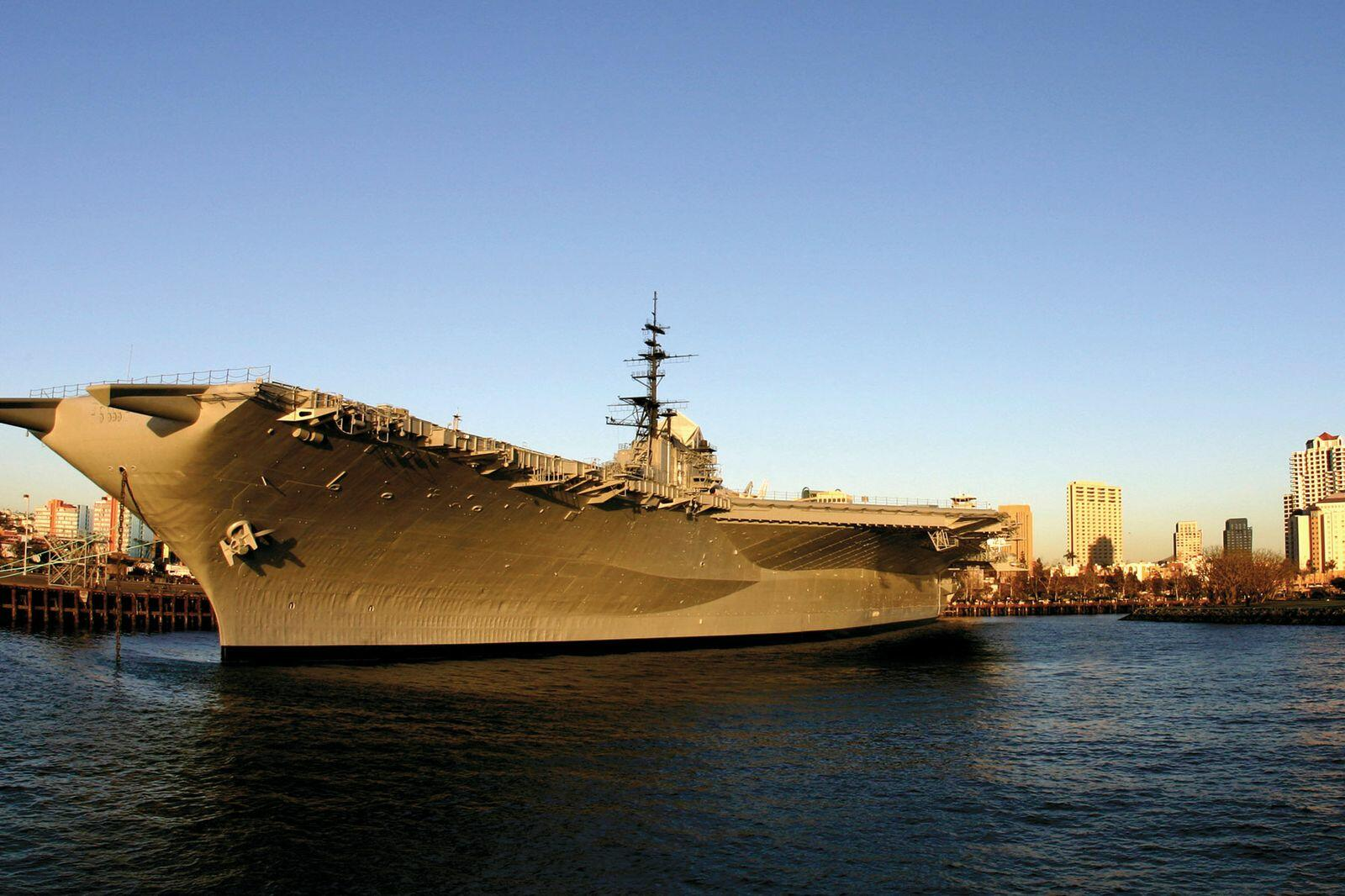 Late afternoon view of the USS Midway Museum aircraft carrier