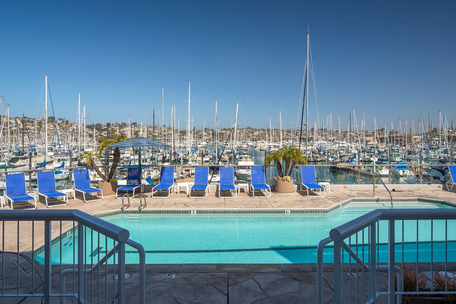Pool with marina view at a hotel in San Diego California