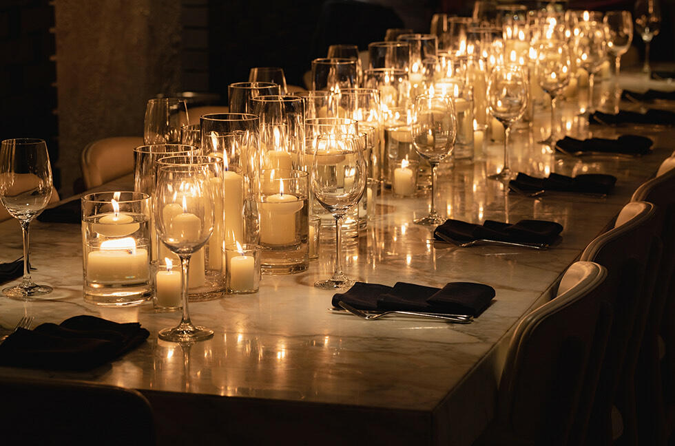 candlelit private dining at Monmouth Kitchen