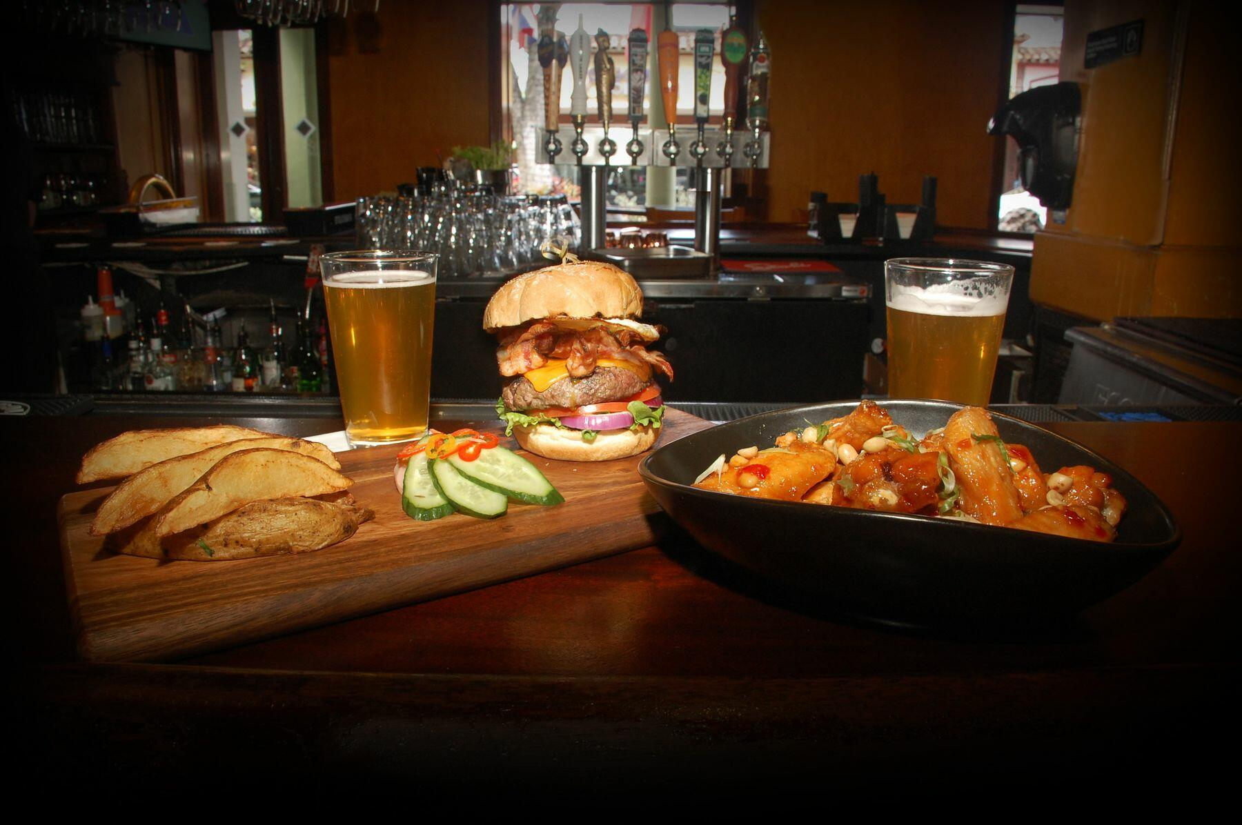 burger, fries and a draft beer
