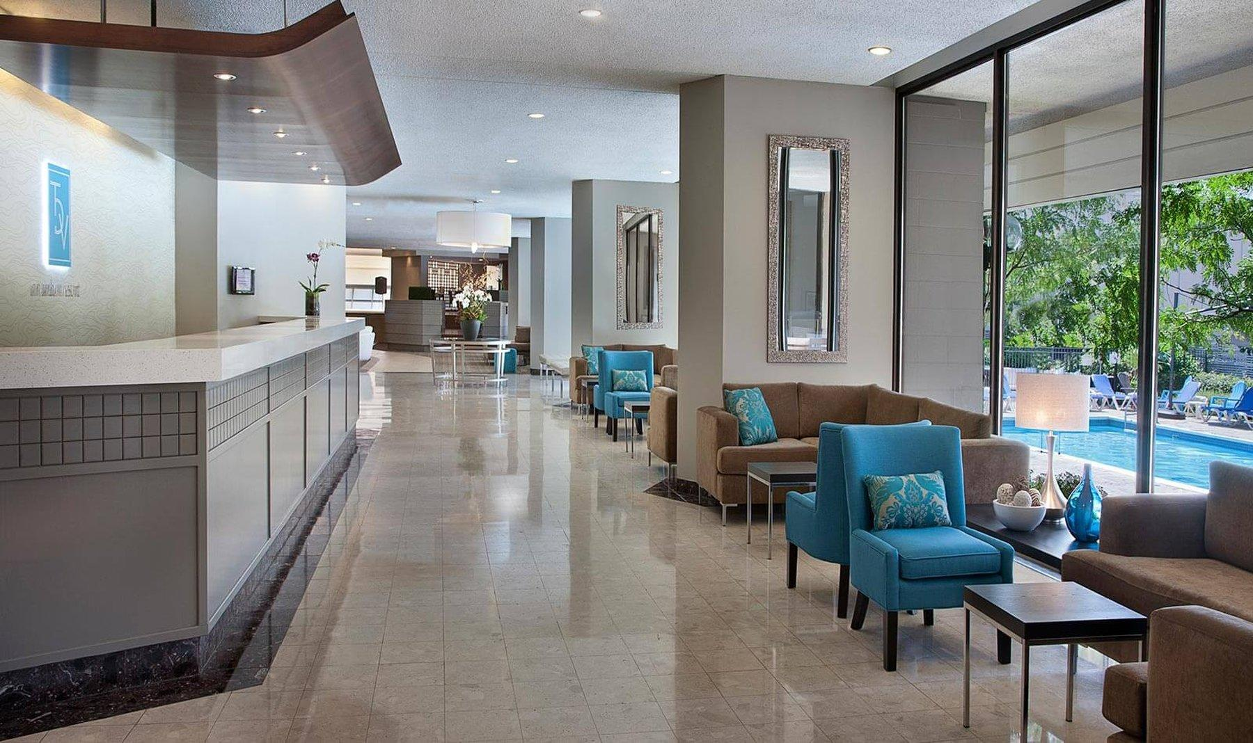 Lobby area with comfy couches and chairs
