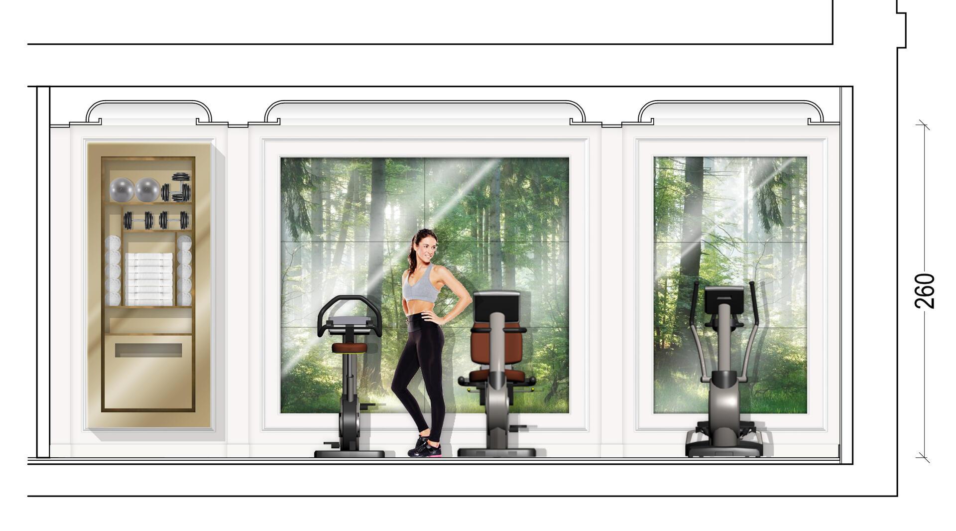 An illustration of the fitness center at Hotel Keppler Paris.