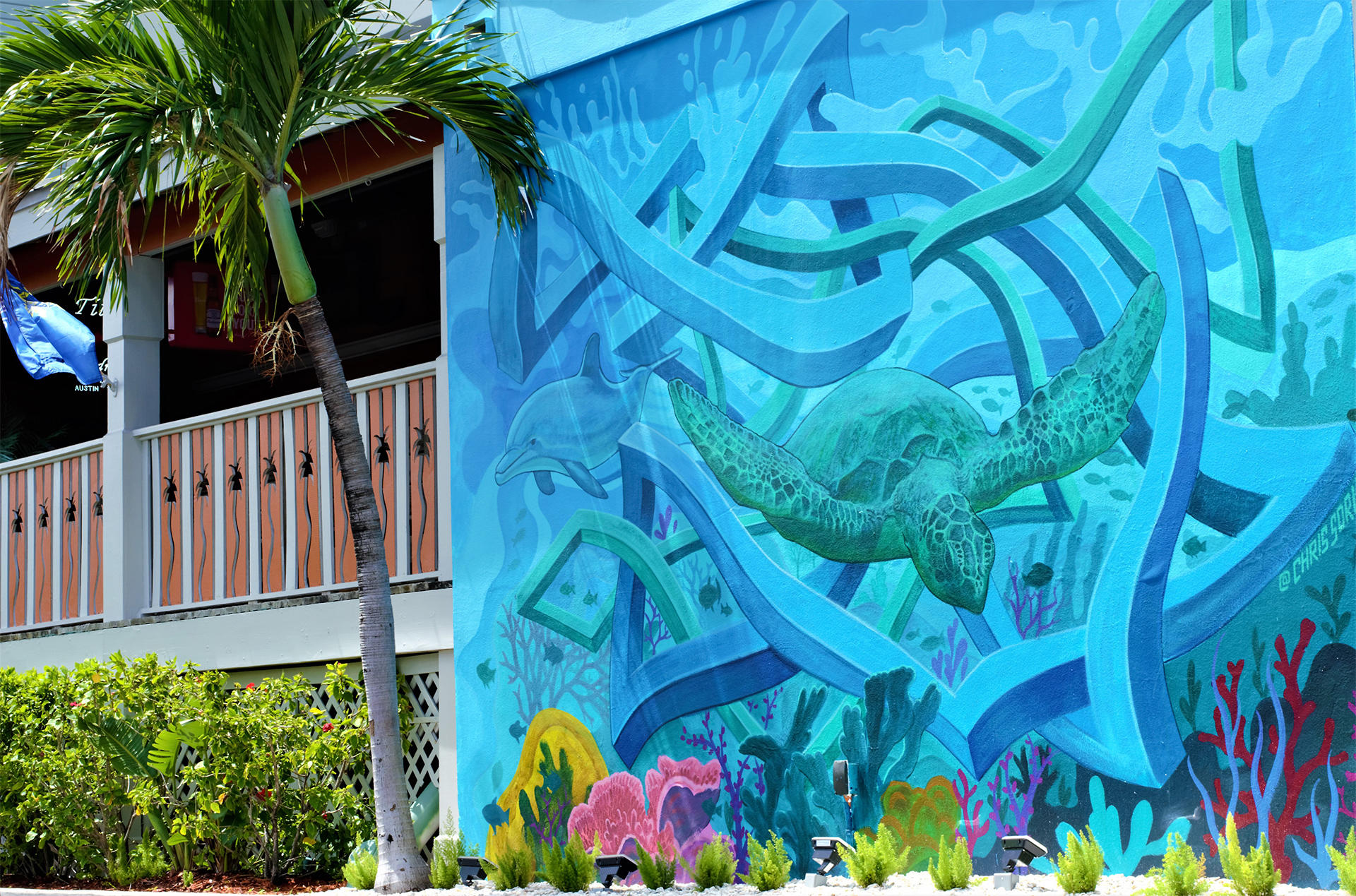 a large mural of a sea turtle