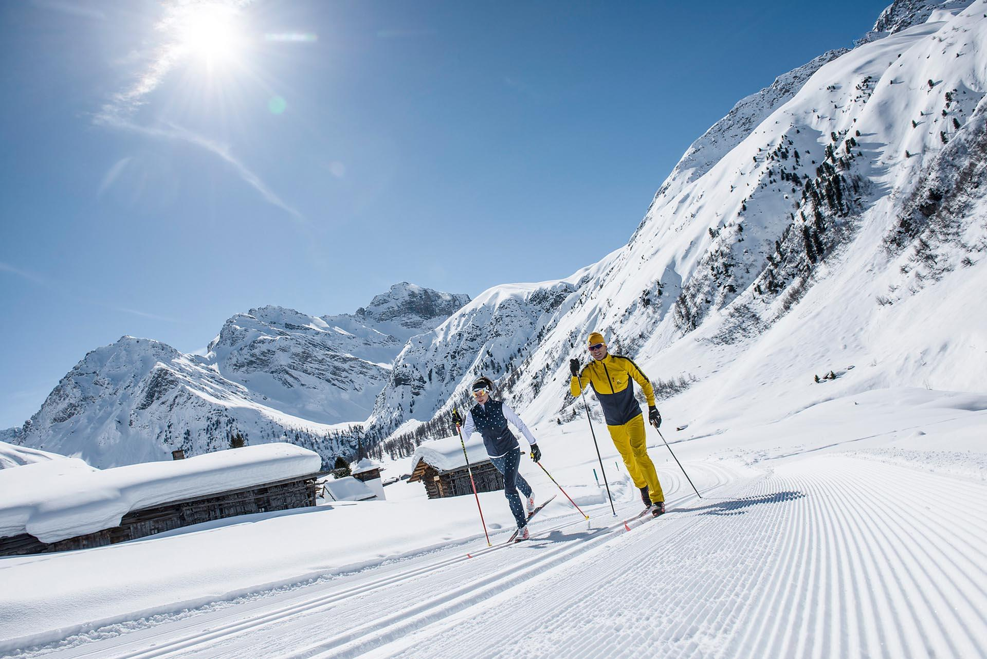Guys doing Cross-Country Skiing in Davos Klosters