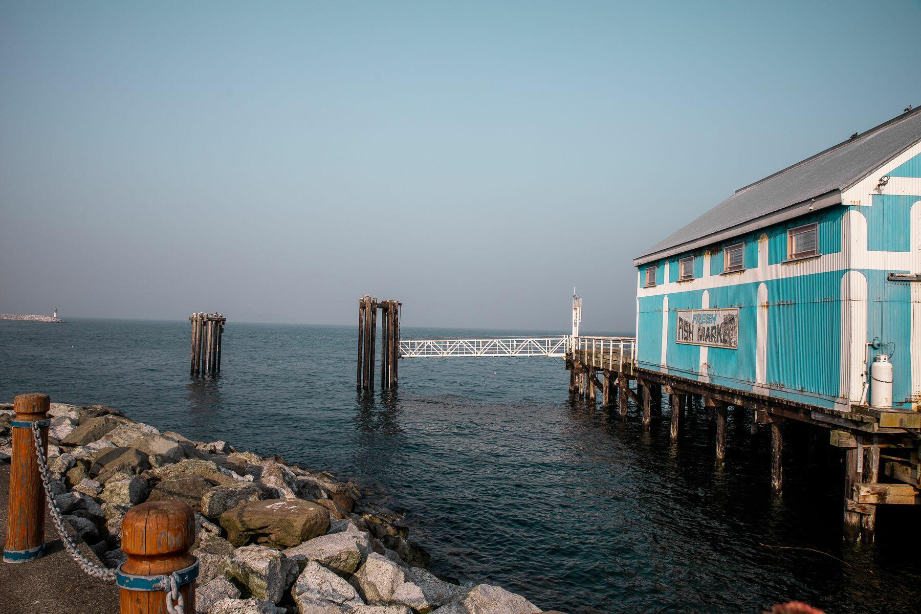 a building on a pier