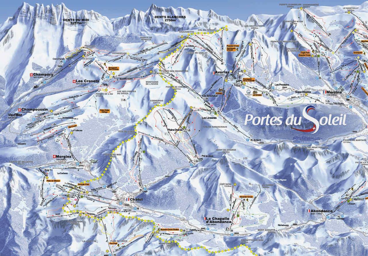 plan des pistes montagne skitexte portes du soleil