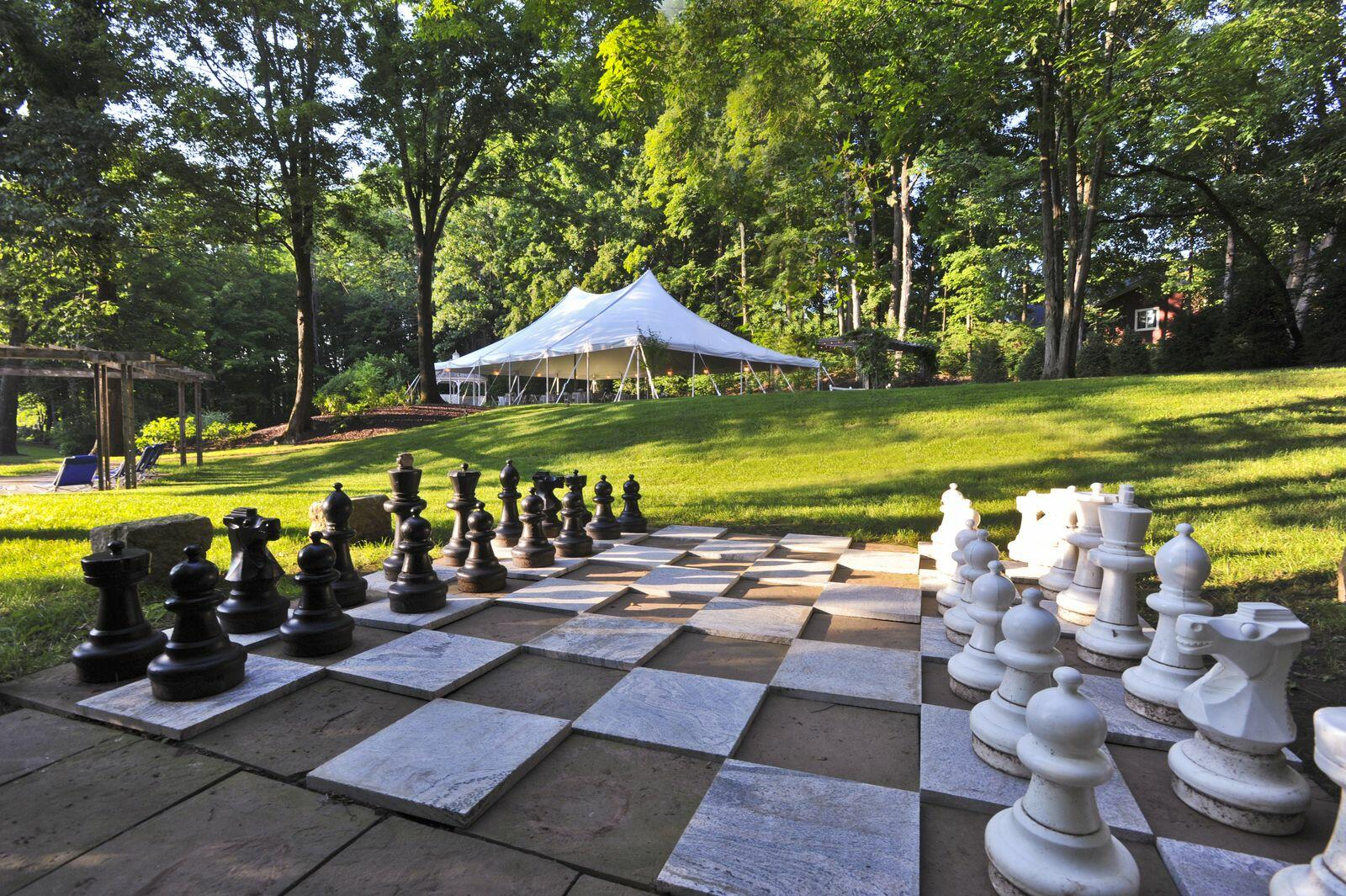 Exterior view of chess layout platform at Avon Old Farms Hotel
