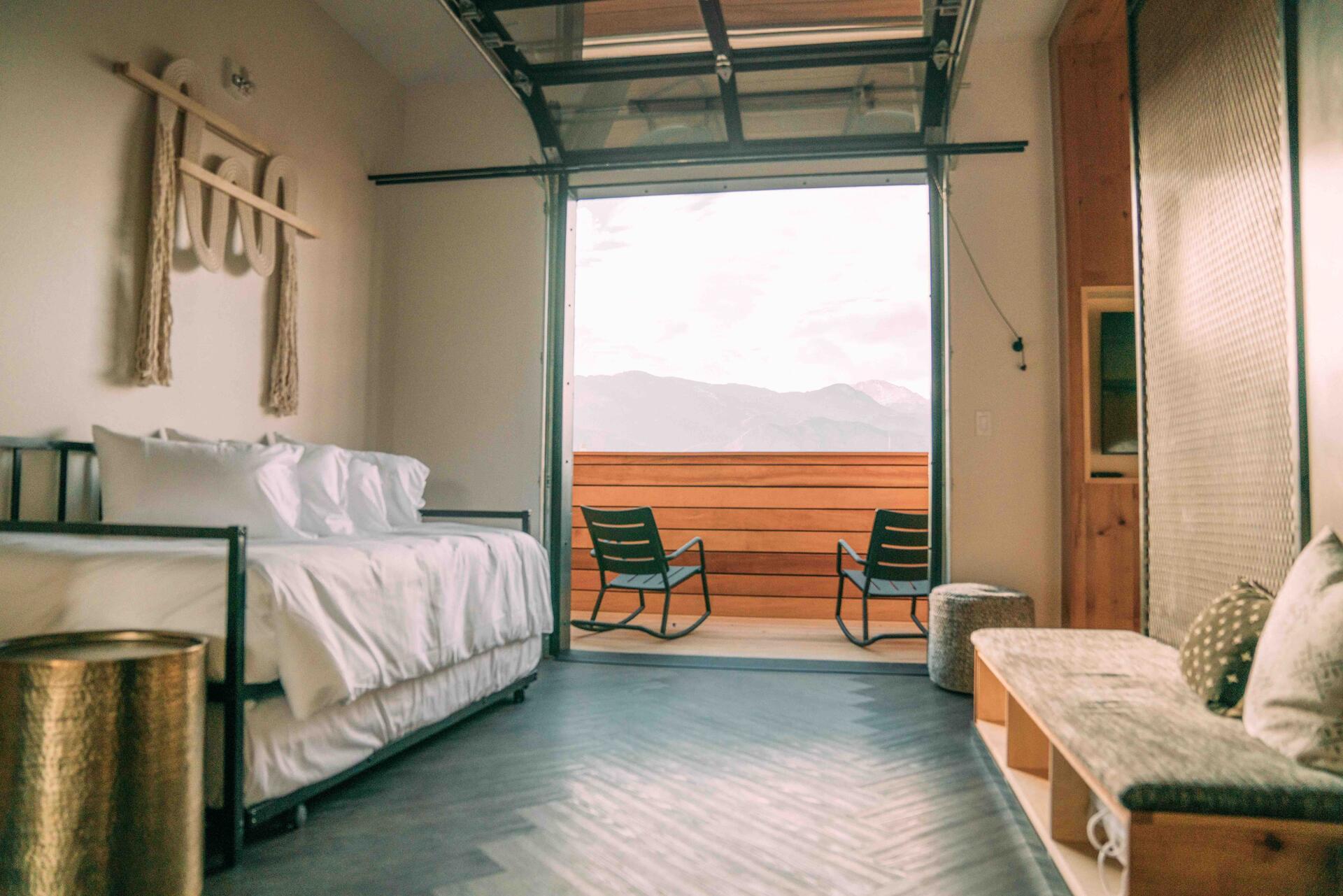 Jr. Queen Suite room at Kinship Landing in Colorado Springs