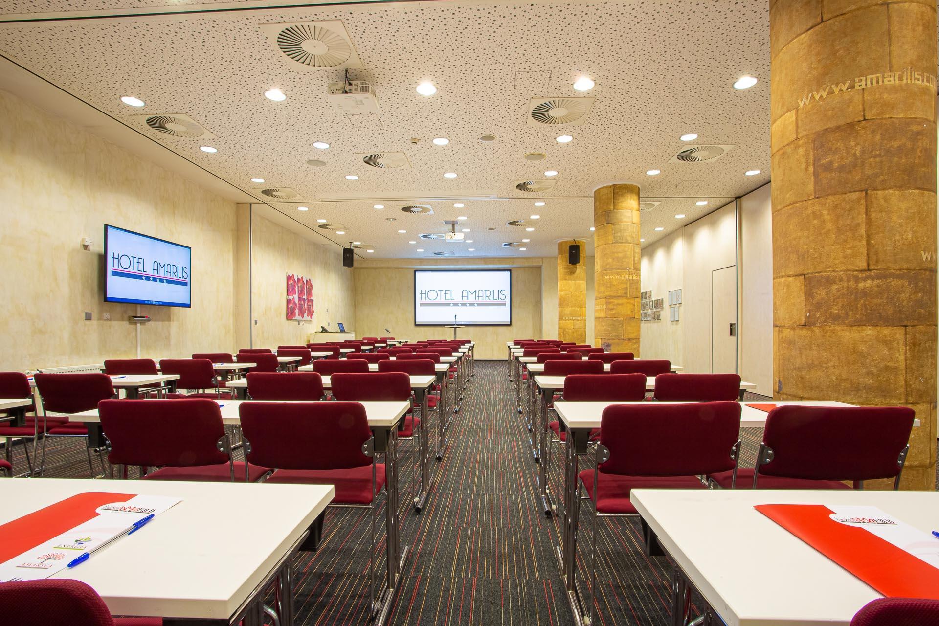 An arranged meeting room at Hotel Amarilis