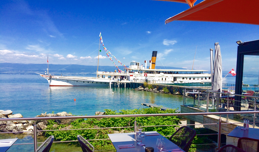 View of Lake Geneva from Le Jolla Restaurant near Hotel Les Gent