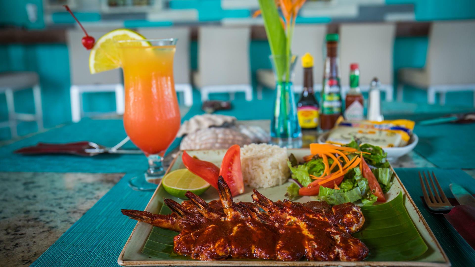 A prawn dish served at Acua Restaurant in Mundo Imperial