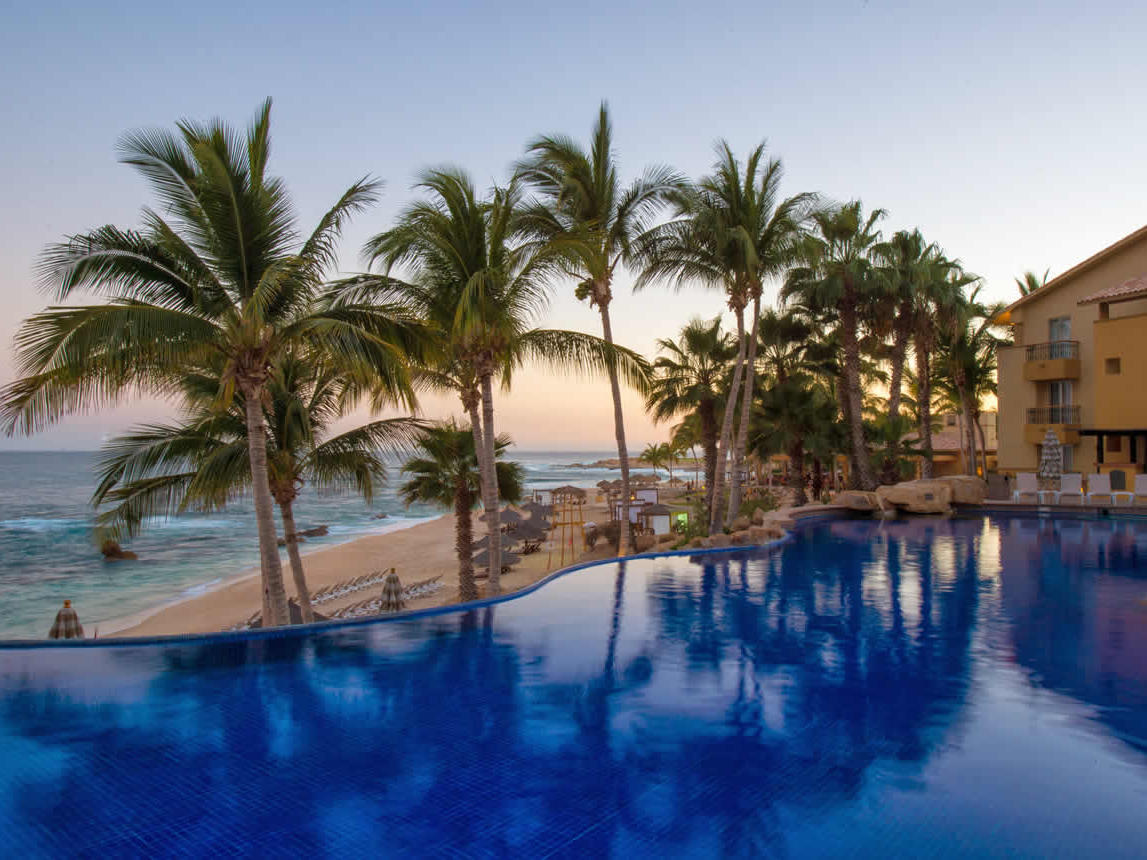Outdoor pool with palm tree line near the beach at Los Cabos