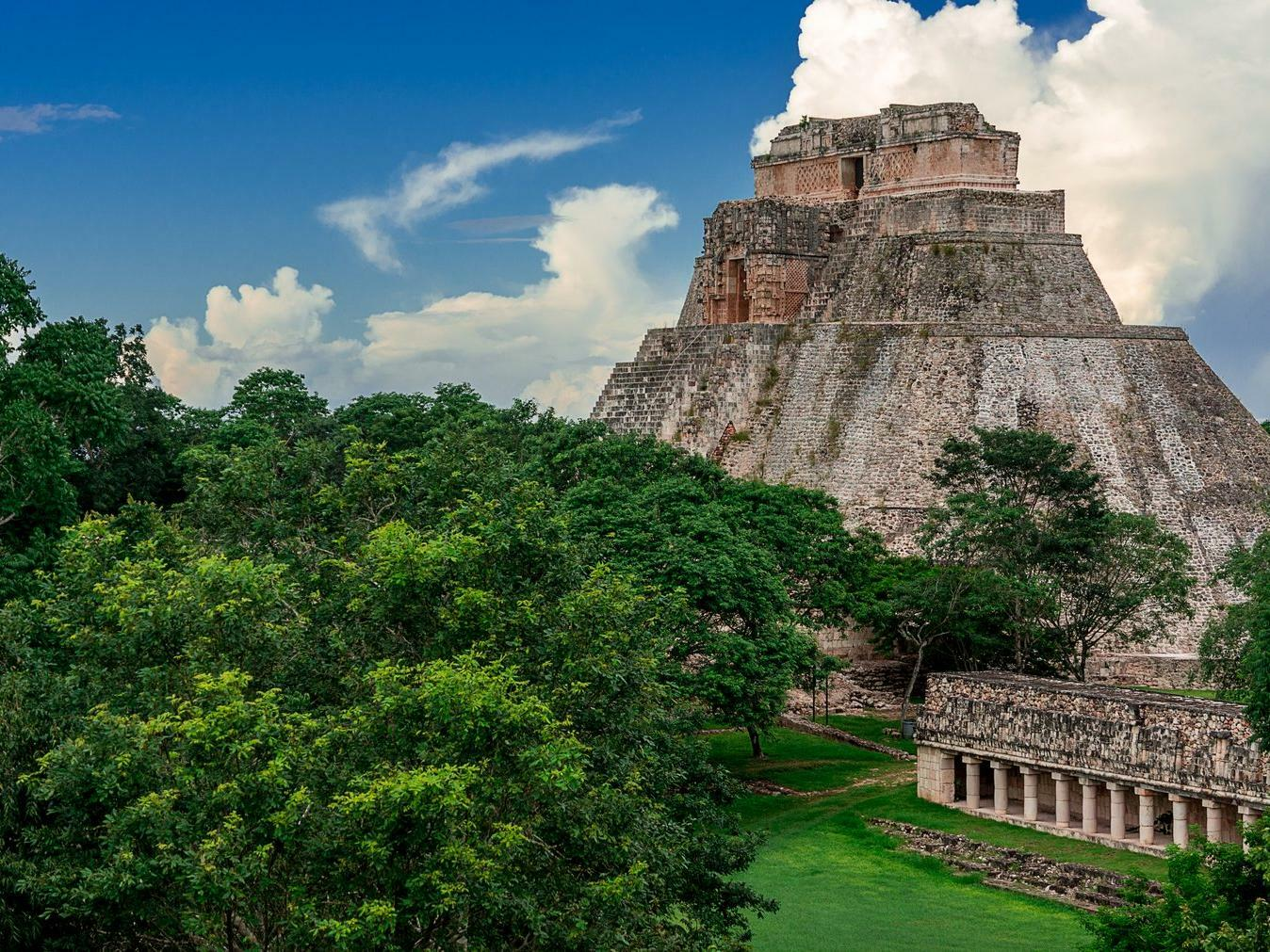 Uxmal Archeological Site surrounded with trees in Mérida city
