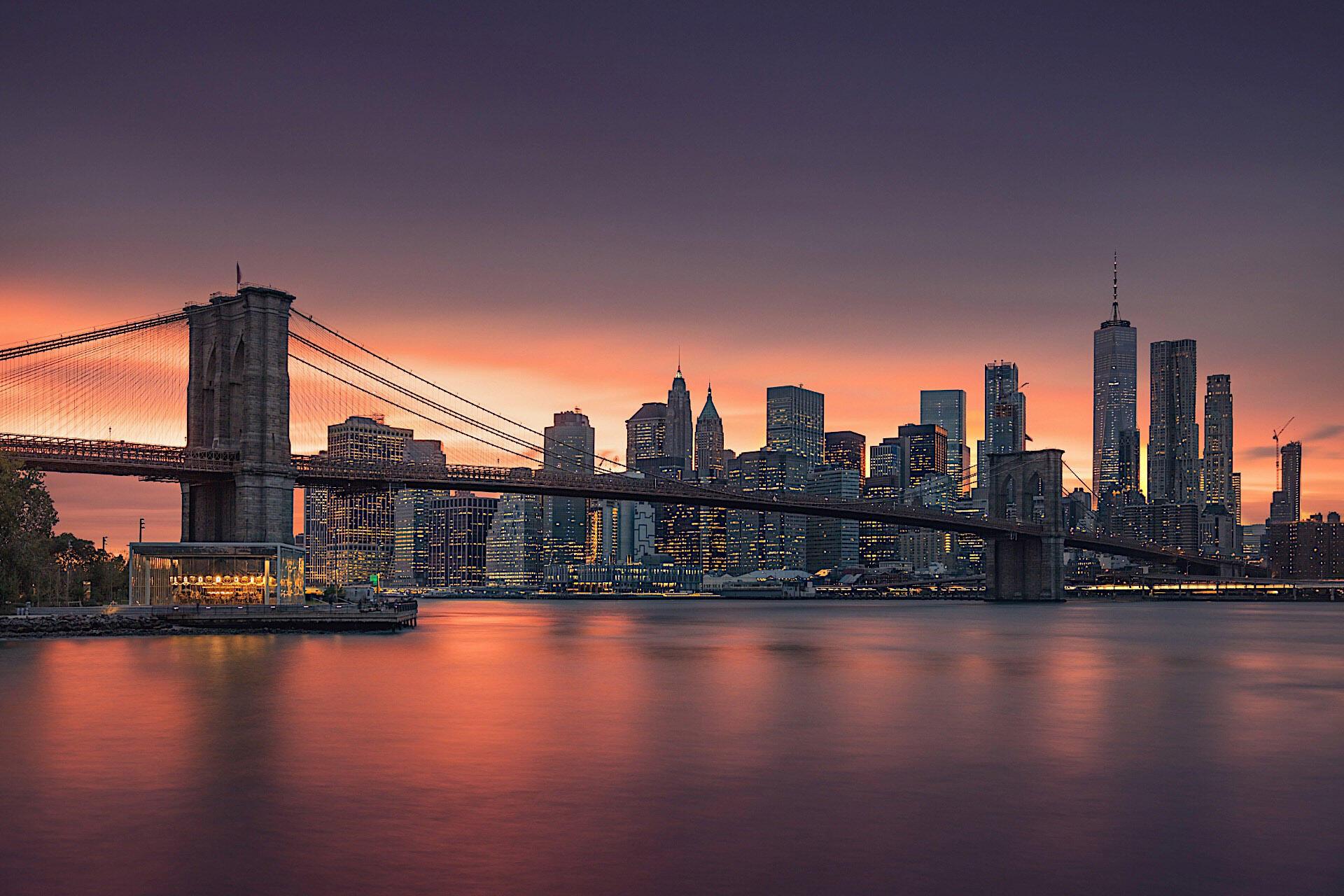Sunset and bridge in New York