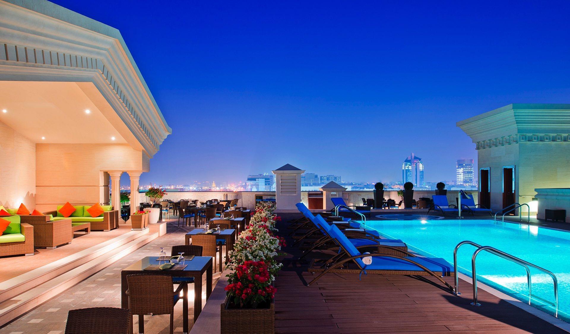 Moon Deck Bar with pool at Warwick Doha