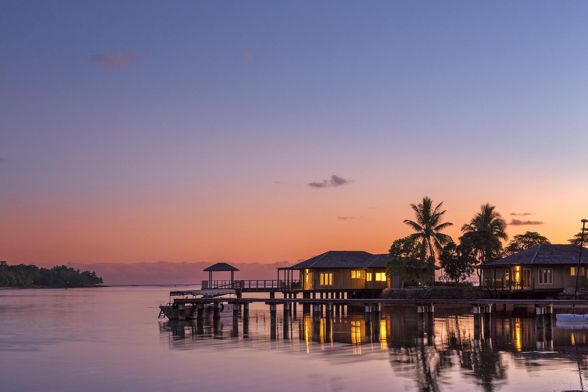 Overwater Vilas at Sunset at Warwick Le Lagon Vanuatu