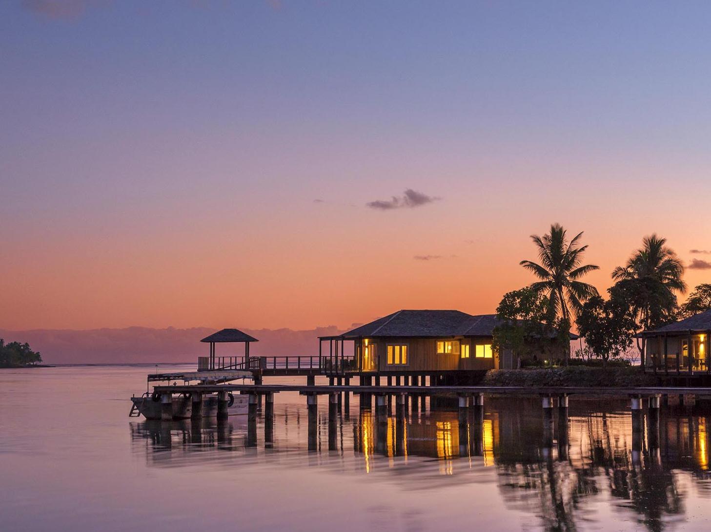 Sunset in the sea at Warwick Le Lagon - Vanuatu