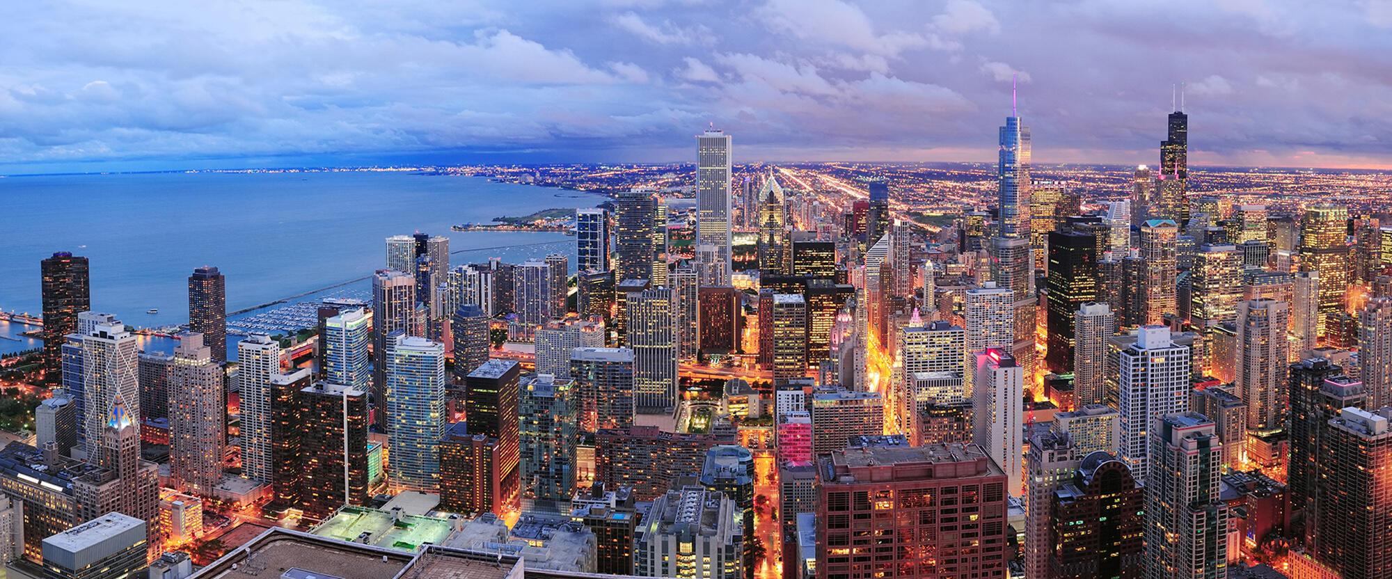 Vue panoramique de Chicago au crepuscule