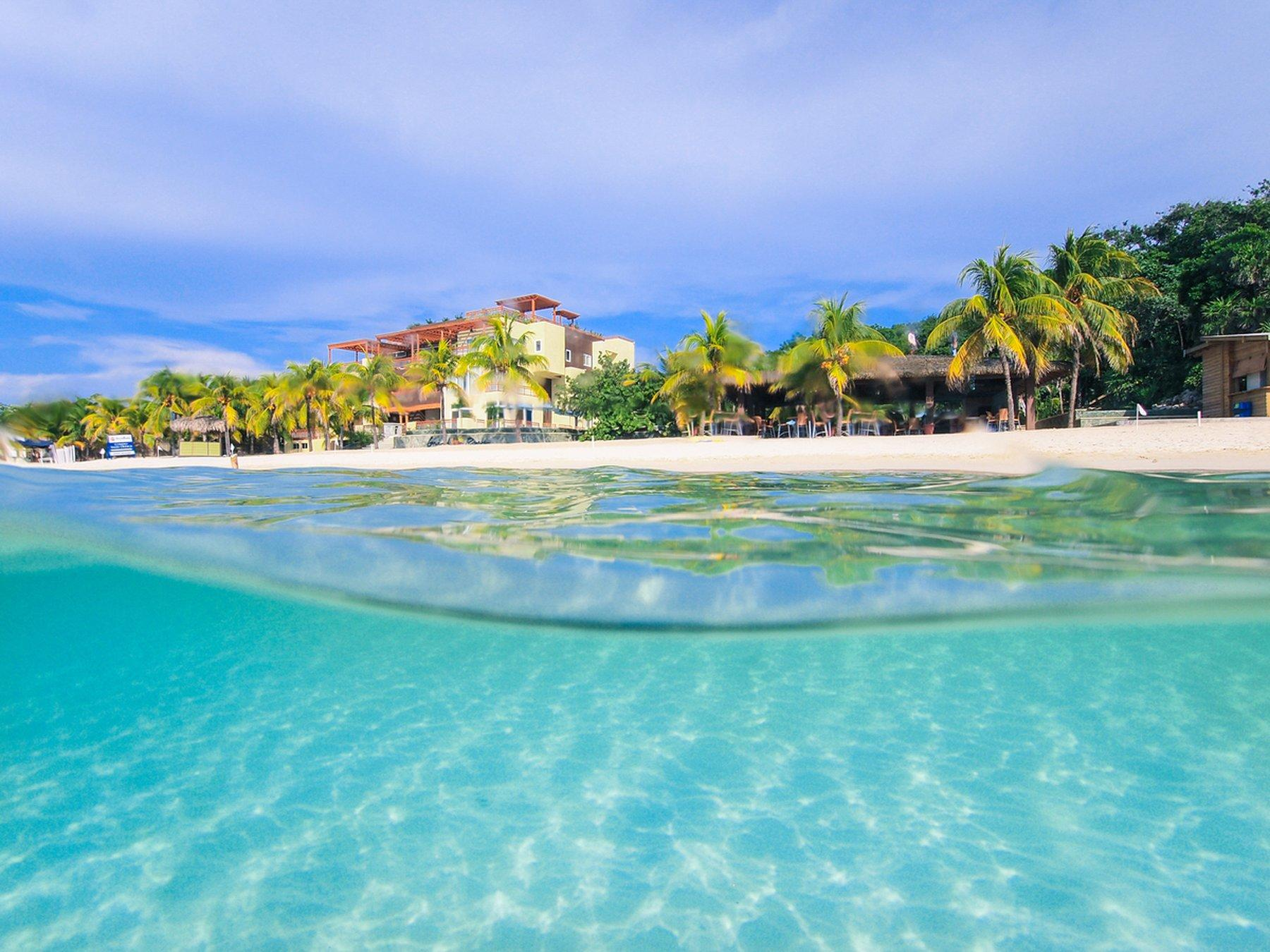 underwater view of beachline