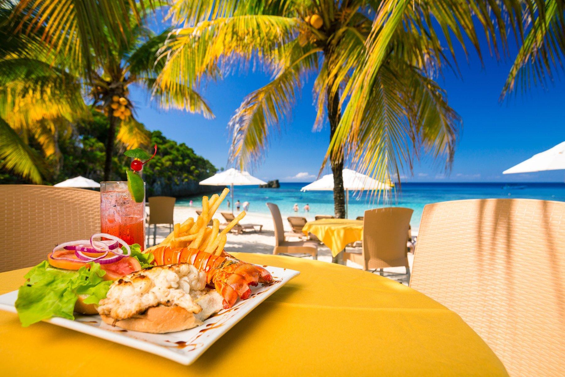 table with food near beach