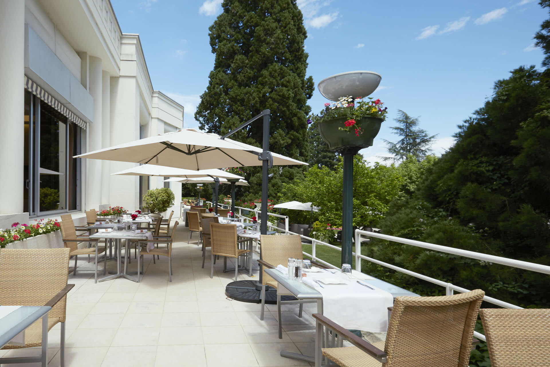 Terrace at Domaine de Divonne Hotel in Divonne-les-Bains