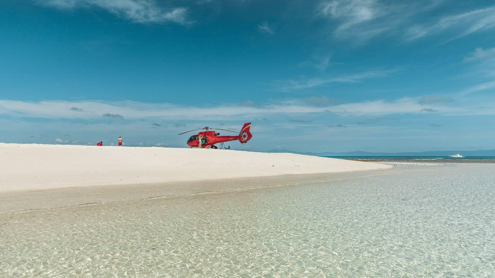 Helicopter on vlasoff cay at  Pullman port douglas sea temple resort and spa