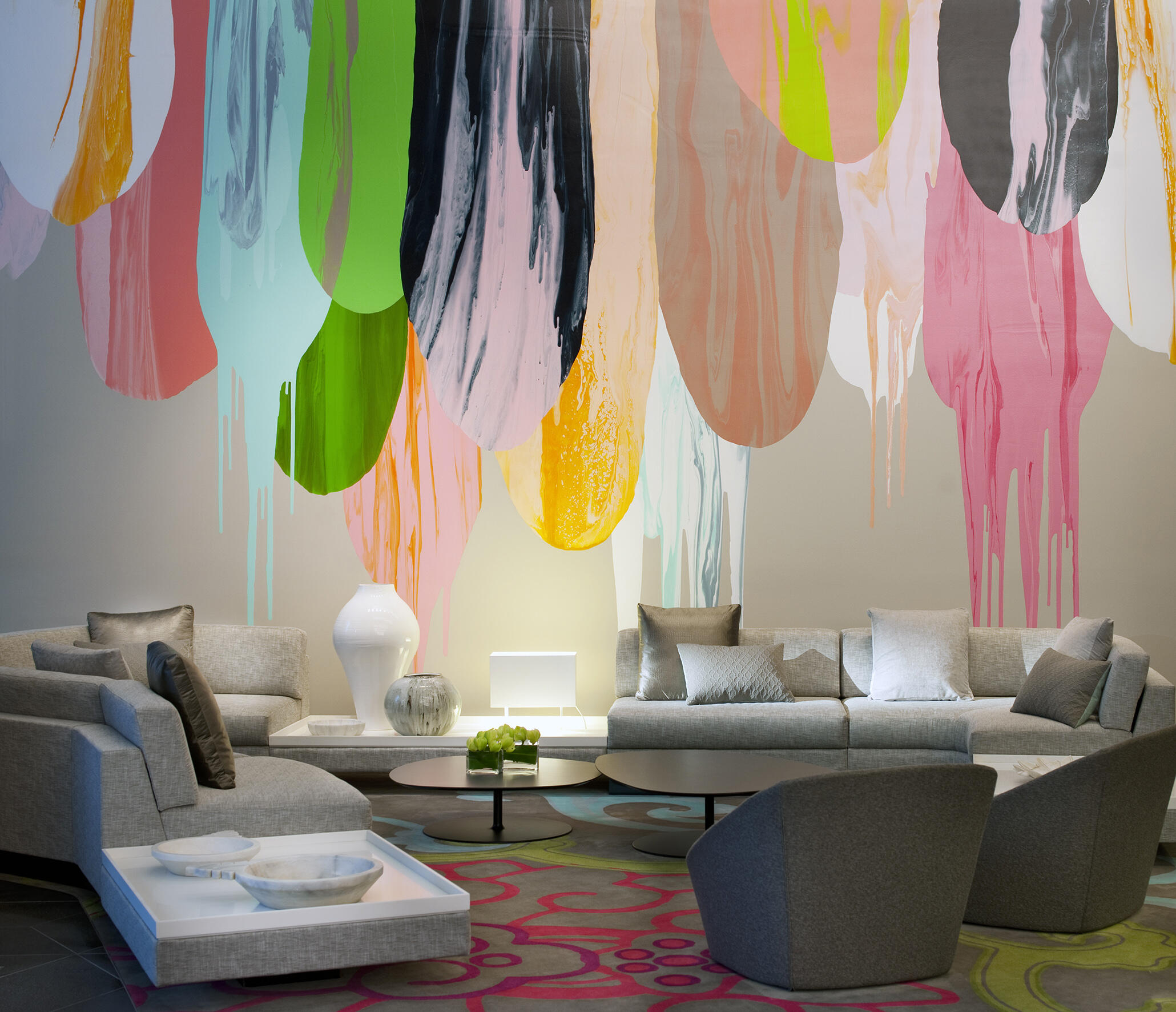 Lobby area with iconic wall art at Crown Hotels