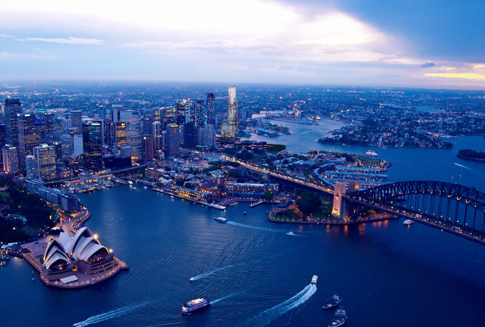 Aerial view of Sydney around the Crown Hotel Sydney