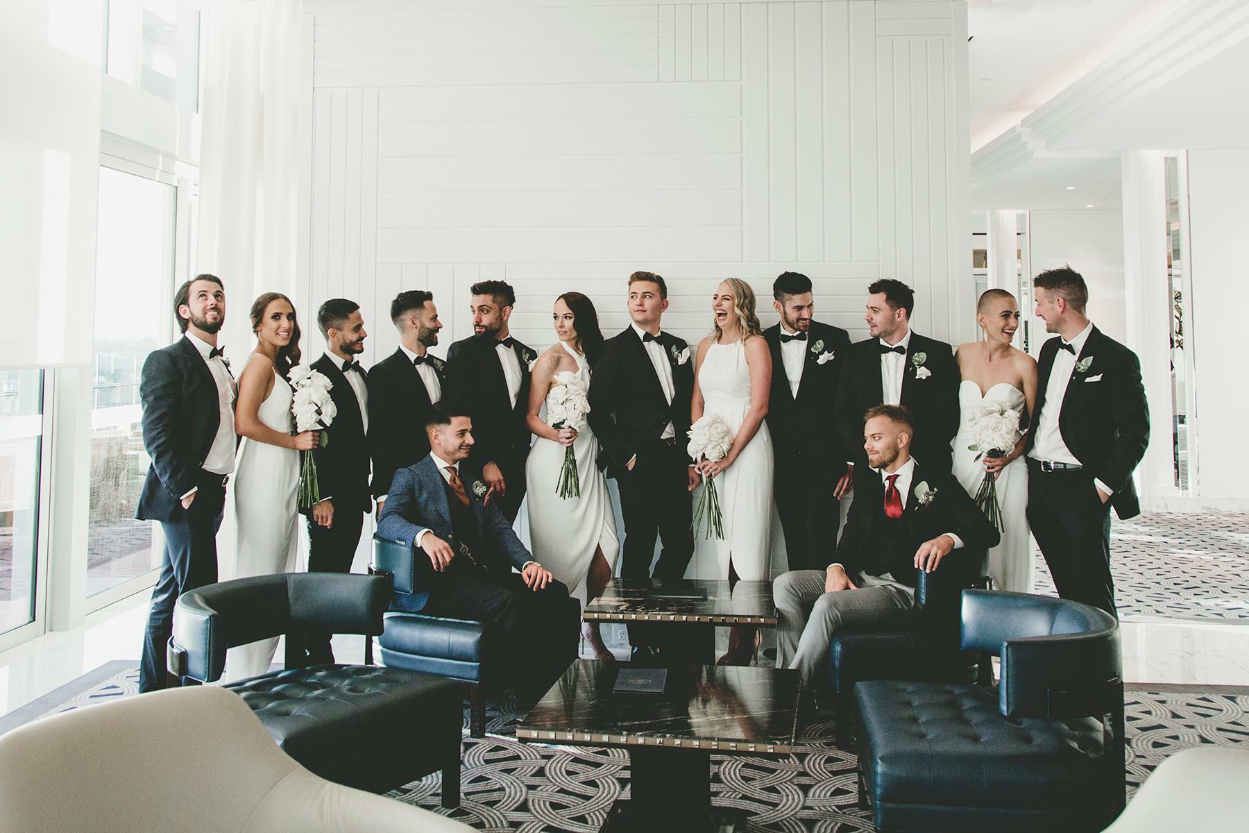 A group wedding photo at Crown Hotel Perth