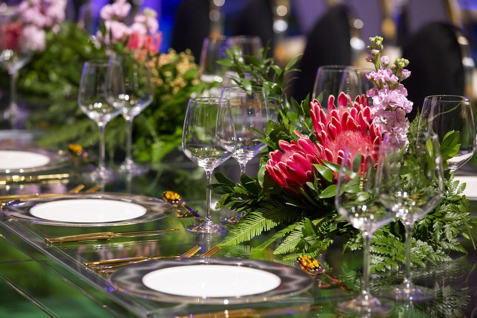 Beautifully decorated tables glasses and plates at Crown Hotel P