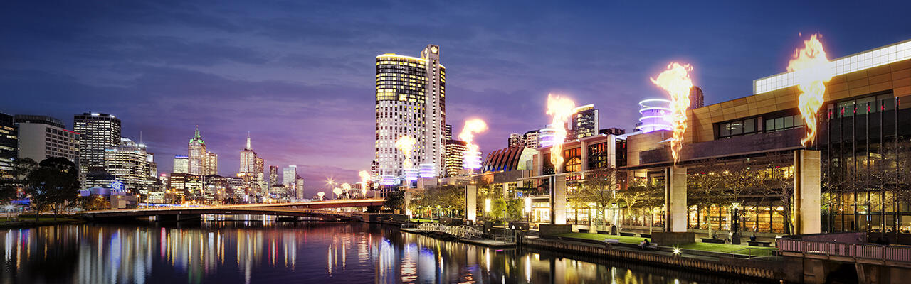 Crown towers & complex exterior at Melbourne hotel
