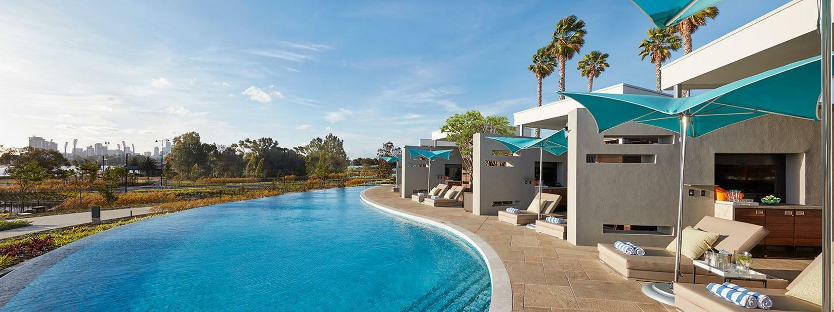 Pool and relaxation area at Crown Hotel Perth