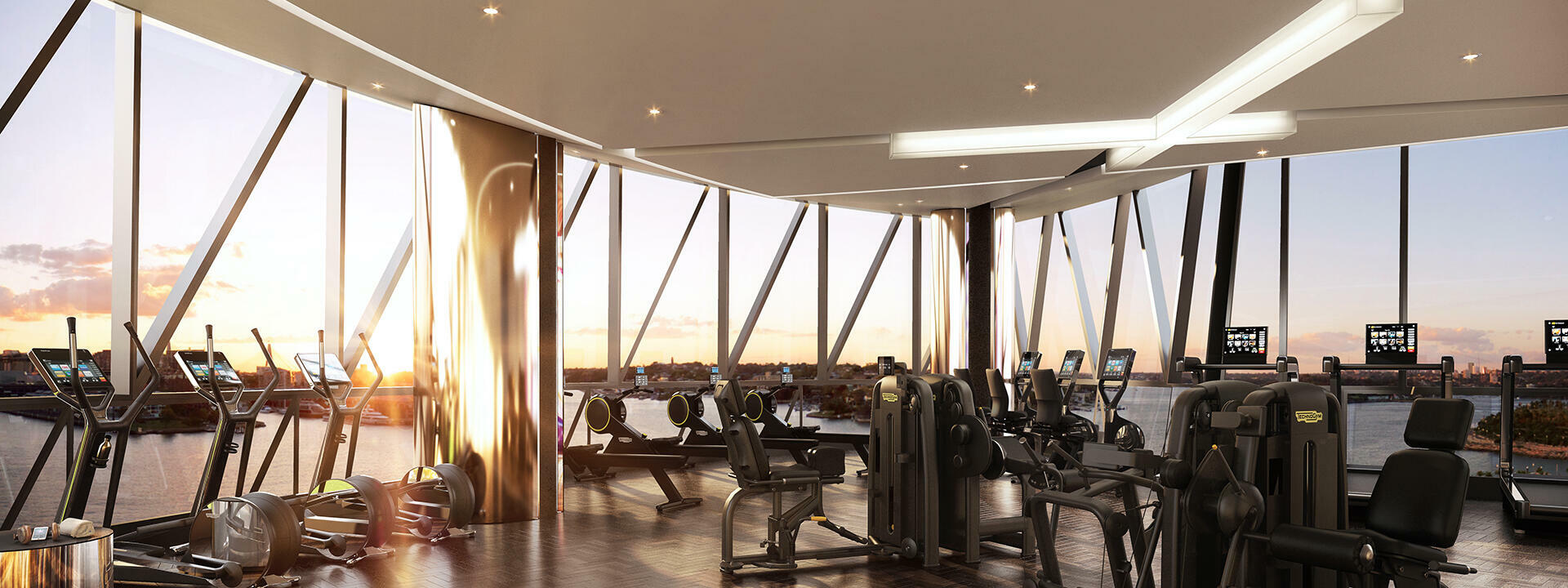 Fitness center with city view at Crown Towers Sydney