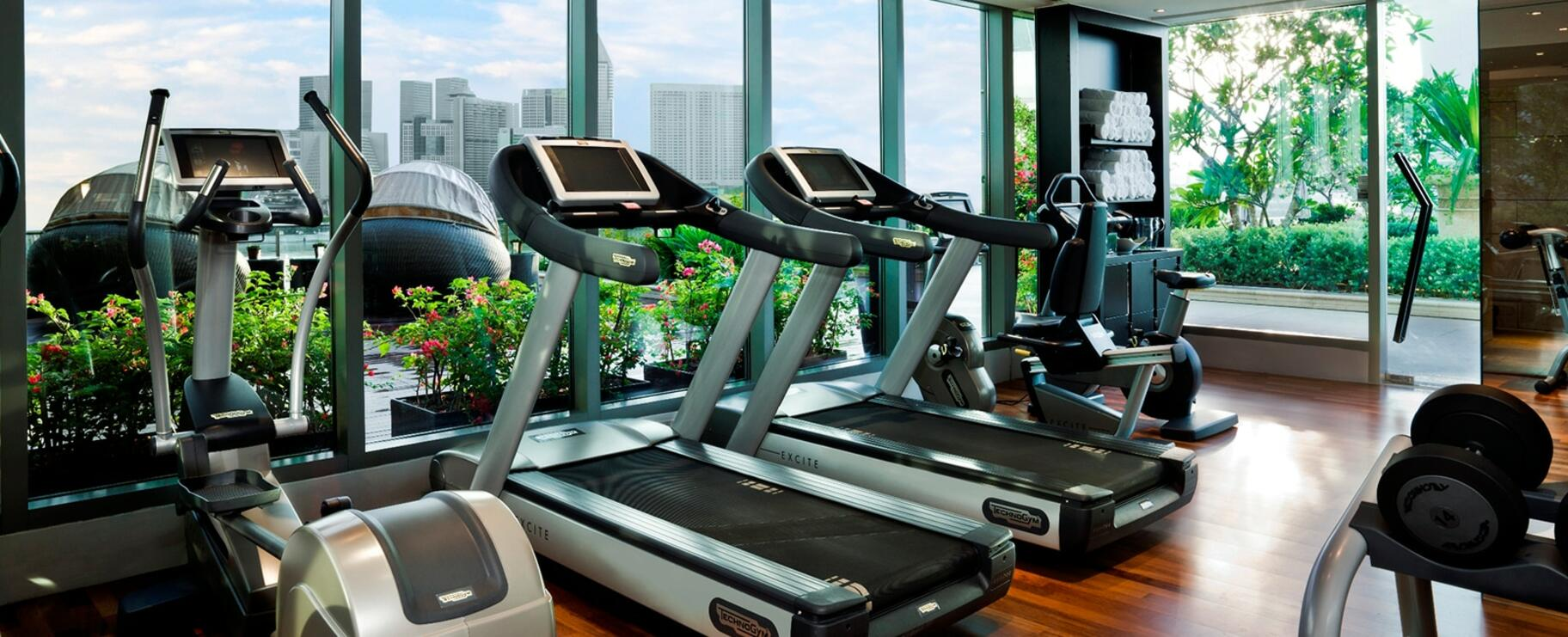 The treadmill machines at the gym and fitness center