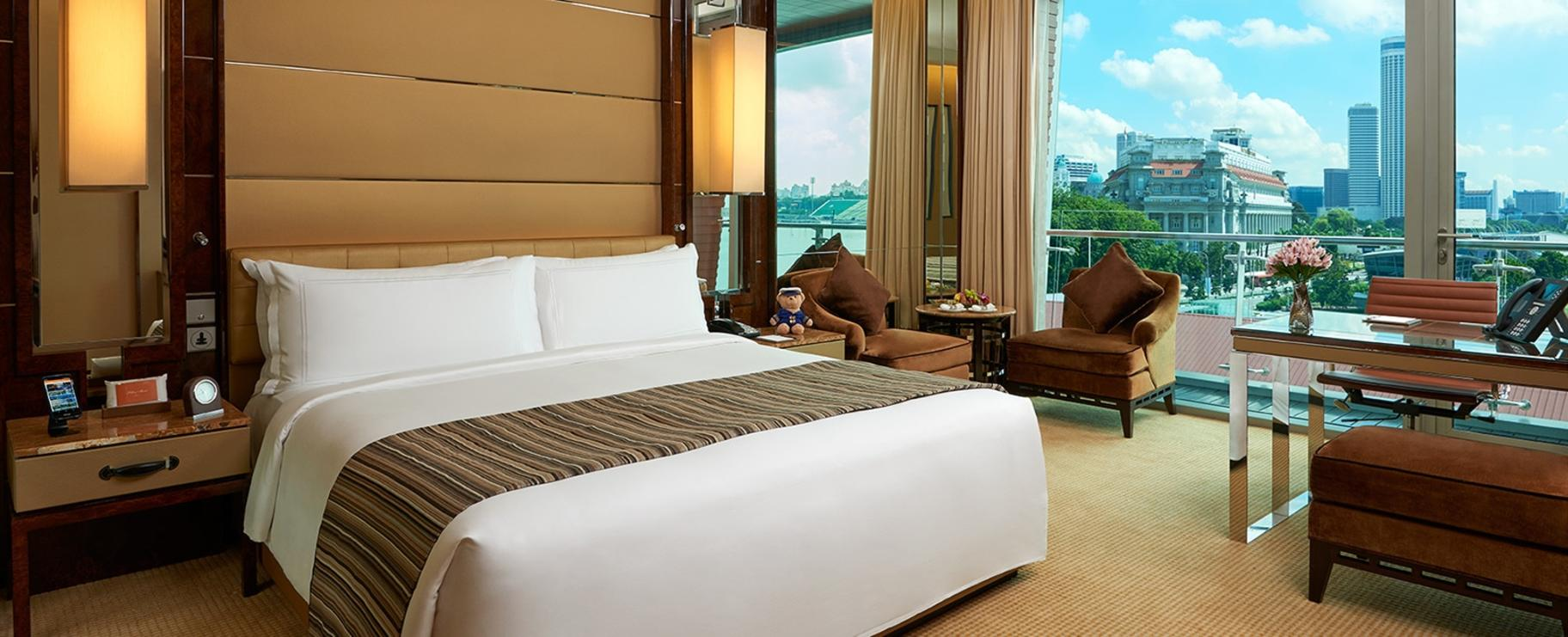The Premier Room with one king bed and a city view at the hotel