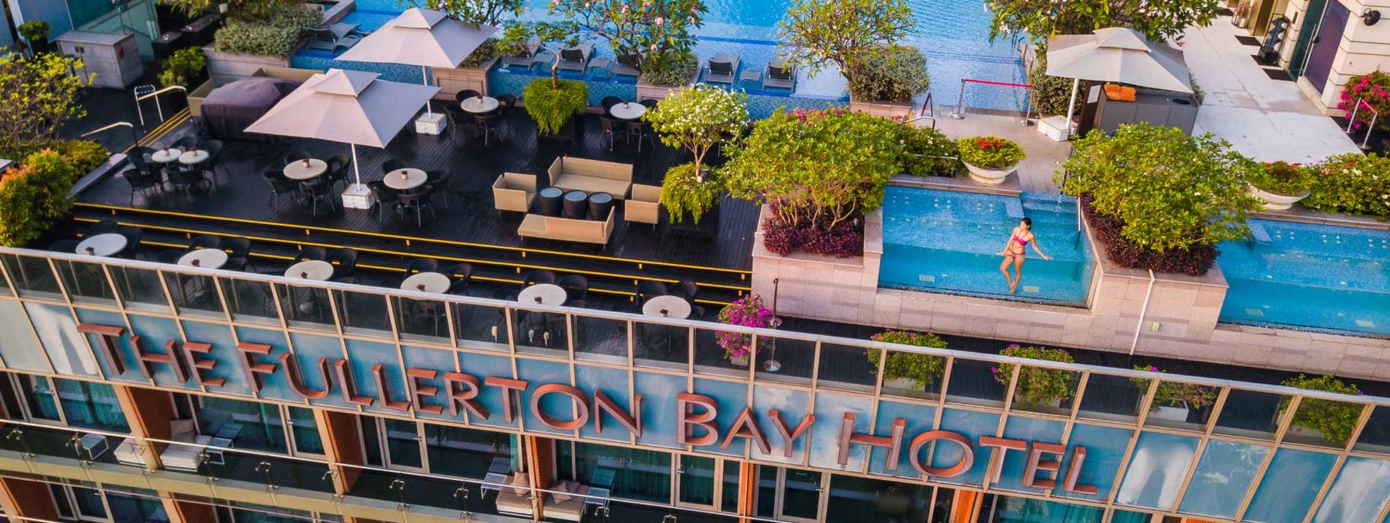 Exterior view of the hotel from the sky with the rooftop pool