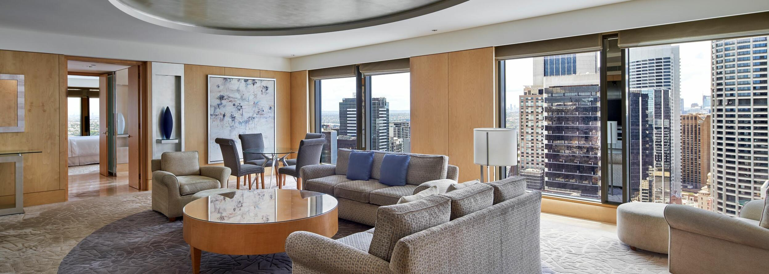 The living area in the Martin Place Suite at the hotel