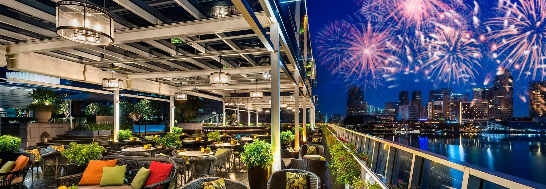 The outdoor area in the Lantern with fireworks