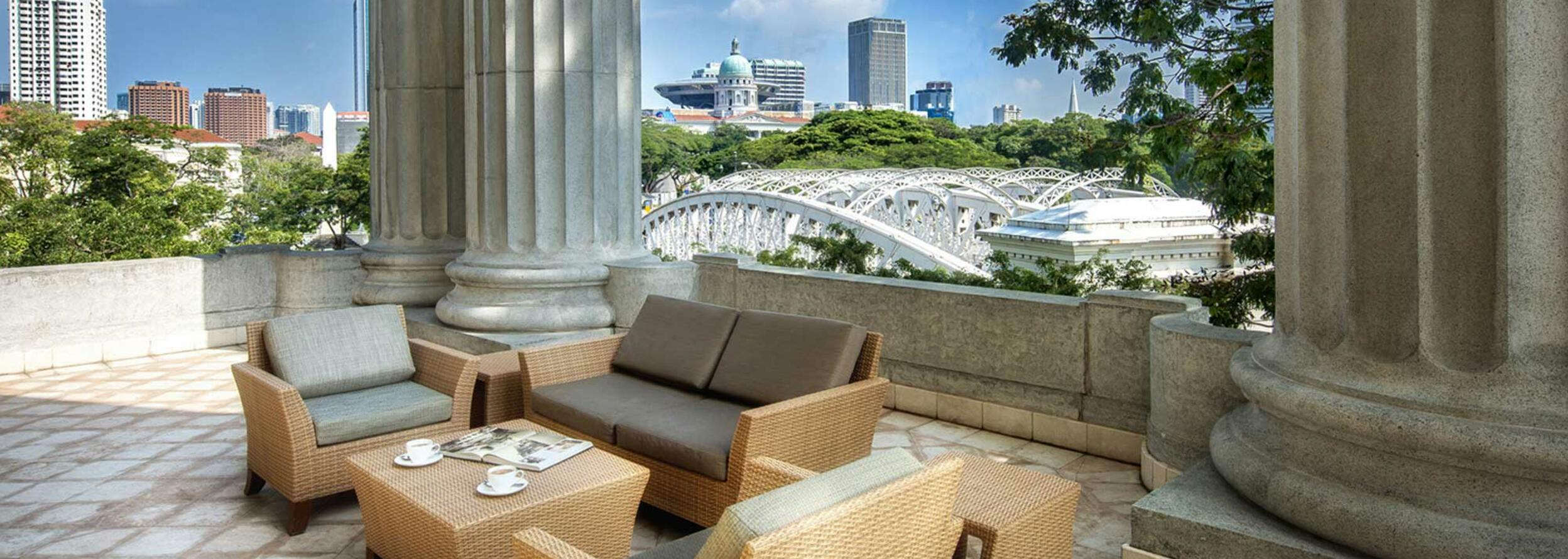 The outdoor terrace area in the Governor Suite at the hotel