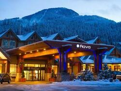 Exterior of Aava Whistler Hotel in winter
