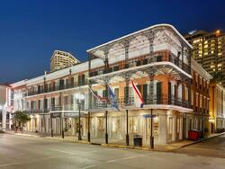 Exterior view of the St. James Hotel at night