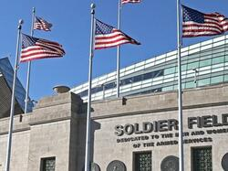 Soldier Field Exterior with American flags