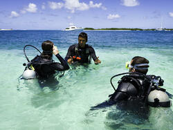three people in water ready to scuba dive
