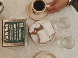 Beignets & coffee served at Café De Monde near the hotel