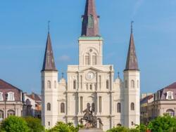 Exterior view of the St. Louis Cathedral near the hotel