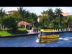 yellow water taxi with homes and palm trees in background